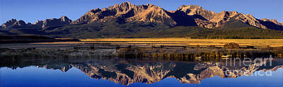 Art Print featuring the photograph Panorama Reflections Sawtooth Mountains Nra Idaho by Dave Welling