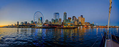 Photograph - Panorama Seattle Ferris Wheel Skyline by Scott Campbell