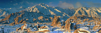 Photograph - Panorama Snow Covers The Alabama Hills by Dave Welling