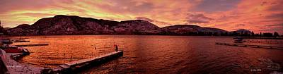 Print featuring the photograph Panorama Sunset Skaha Lake by Guy Hoffman