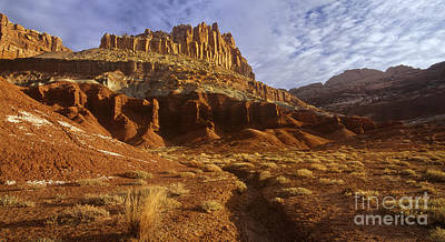 Photograph - Panorama The Castle On A Cloudy Morning Capitol Reef National Park by Dave Welling