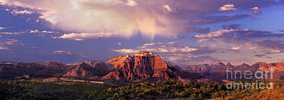 Panorama West Temple At Sunset Zion Natonal Park Art Print by Dave Welling