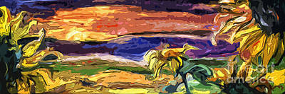 Painting - Panoramic Abstract Sunflowers by Ginette Callaway