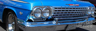 Photograph - Blue Chevy Impala Grill by Mark Spearman