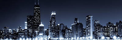 Skylines Royalty-Free and Rights-Managed Images - Panoramic Chicago Skyline at Night Blue Tone by Paul Velgos