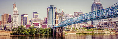 Roebling Bridge Photograph - Panoramic Cincinnati Skyline Retro Photo by Paul Velgos