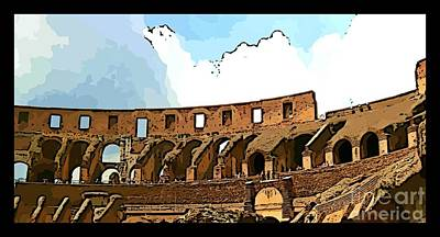 Colliseum Photograph - Panoramic Graphic Of The Roman Colisseum by John Malone