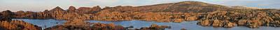 Panoramic Lake And Volcano Art Print by Aaron Burrows
