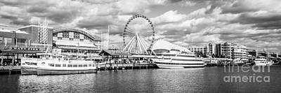 Wheel Photograph - Panoramic Navy Pier Black And White Photo by Paul Velgos