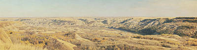 Panoramic Of The Badlands Of The Red Art Print by Roberta Murray