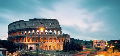 Panoramic Of The Colosseum At Night Art Print by Matteo Colombo