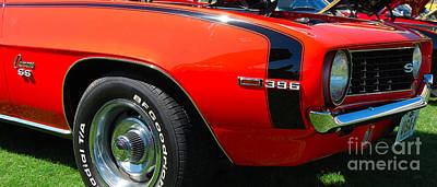 Photograph - panoramic orange '69 Camaro by Mark Spearman