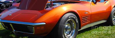 Photograph - panoramic orange Corvette by Mark Spearman