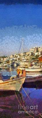 Panoramic Painting Of Mikrolimano Port Art Print
