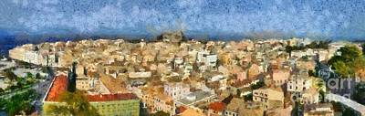 Painting - Panoramic Painting Of The Old City Of Corfu by George Atsametakis