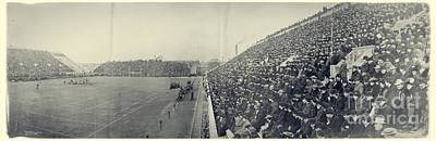 Panoramic Photo Of Harvard  Dartmouth Football Game Art Print by Edward Fielding
