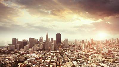 Panoramic Photo Of San Francisco In Art Print by Narvikk