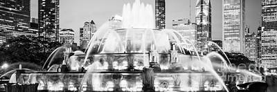 Skylines Royalty-Free and Rights-Managed Images - Panoramic Picture of Chicago Buckingham Fountain  by Paul Velgos