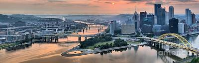 Photograph - Panoramic Pitsburgh Pink Skies by Adam Jewell