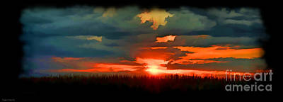 Photograph - Panoramic Sunset - Digital Paint by Debbie Portwood