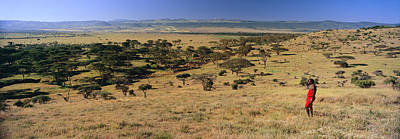 African Warriors Photograph - Panoramic View As Masai Warrior In Red by Panoramic Images