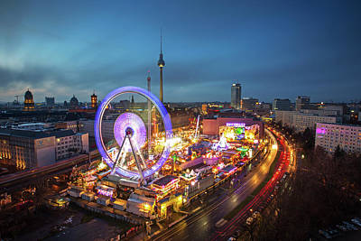 Panoramic View At Sunset Of Berlin With Art Print by Andreas Mohaupt