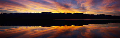 Panamint Valley Photograph - Panoramic View At Sunset Of Flooded by Panoramic Images