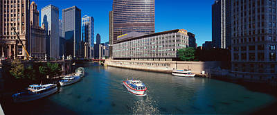 Watercraft Photograph - Panoramic View Of Chicago River by Panoramic Images