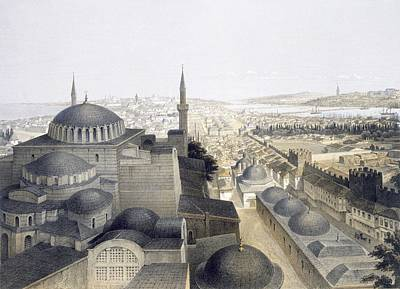 Sofia Drawing - Panoramic View Of Constantinople by Gaspard Fossati