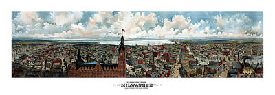 Animals Paintings - Panoramic View Of Milwaukee Wisconsin by War Is Hell Store