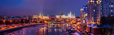 Panoramic View Of Moscow River And Moscow Kremlin  - Featured 3 Art Print by Alexander Senin