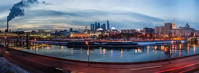 Kiev Photograph - Panoramic View Of Moscow River - Kiev Railway Station And Square Of Europe - Featured 3 by Alexander Senin