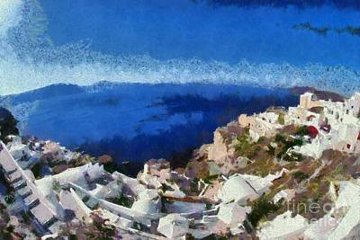 Painting - Panoramic View Of Oia Town by George Atsametakis