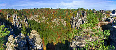 Panoramic View Of The Elbe Sandstone Mountains Art Print