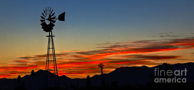 Haybale Photograph - Panoramic Windmill Silhouette by Robert Bales