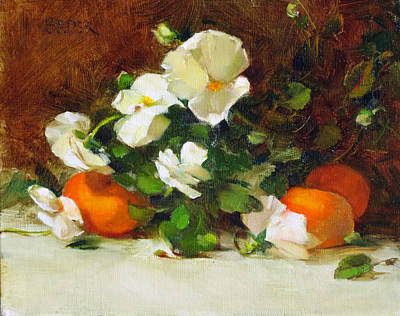 Painting - Pansies And Clementines by Chris  Saper