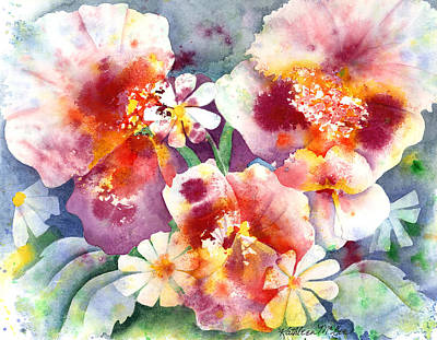 Pansies And Daisies Print by Kathleen McGee