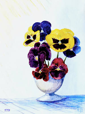 Floral Still Life Painting - Pansies by Art By - Ti   Tolpo Bader