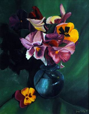 Painting - Pansies Bouquet by George Tuffy