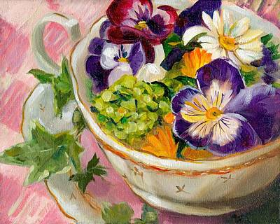 Tea Party Painting - Pansies In A Tea Cup by Linda Dunbar