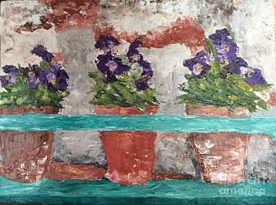 Viridian Painting - Pansies In A Pot by N Roman