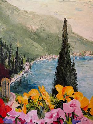 Lake Como Painting - Pansies On Lake Como by Alan Lakin