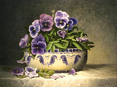 Table Cloth Painting - Pansies by Sean Taber