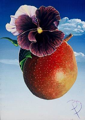 Painting - Pansy And The Golden Pear by Donna Page