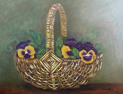 Pansy Basket Sherry Nelson Study Art Print by Sharon Schultz
