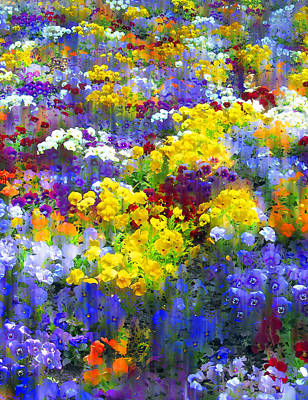 Floral Digital Art Digital Art Photograph - Pansy Party by Jessica Jenney