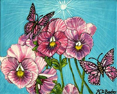 Art Print featuring the painting Pansy Pinwheels And The Magical Butterflies by Kimberlee Baxter