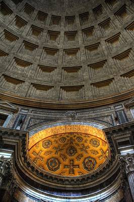 Photograph - Pantheon Ceiling Detail by Michael Kirk