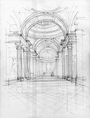 Hand Made Drawing - Pantheon Interior by Peut Etre