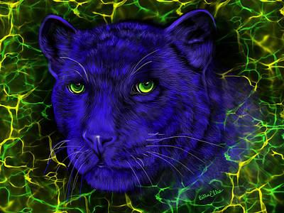 Animal Lover Digital Art - Panther Blues Electric by Billie Jo Ellis